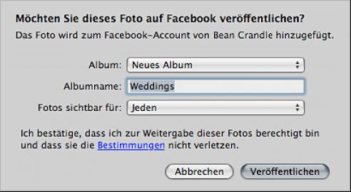 Abbildung. Fenster zum Erstellen und Veröffentlichen eines Facebook-Albums.