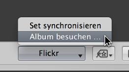 """Abbildung. Das Einblendmenü """"Flickr"""" in der Werkzeugleiste."""