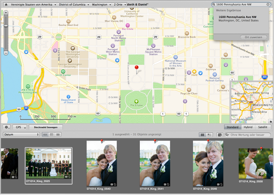 """Abbildung. Darstellung """"Orte"""" mit Informationen, die in das Suchfeld eingegeben wurden, und einem in der Liste mit den Suchergebnissen ausgewählten Ort."""