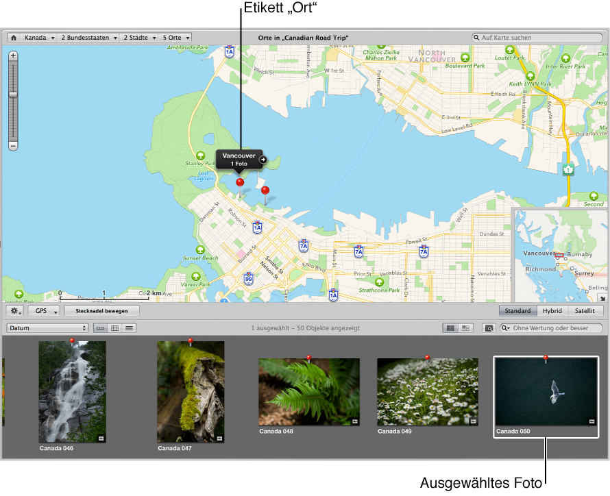 """Abbildung. Darstellung """"Orte"""" mit einem im Browser ausgewählten Bild und einer Stecknadel, die den Aufnahmeort auf der Karte markiert."""