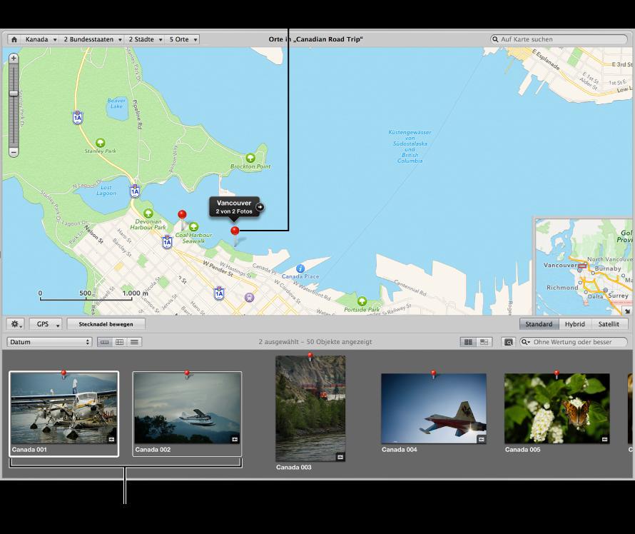 """Abbildung. Darstellung """"Orte"""" mit einer auf der Karte ausgewählten Stecknadel und im Browser ausgewählten Bildern, die diesem Aufnahmeort zugeordnet sind."""