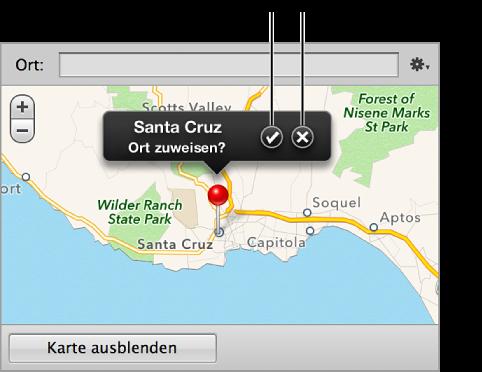 """Abbildung. Taste """"Ort zuweisen"""" und Taste """"Abbrechen"""" in einem Ortsetikett im Bereich """"Karte"""" des Informationsfensters """"Info""""."""