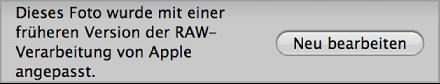 Abbildung. Dialogfenster für die erneute Verarbeitung eines Bilds aus einer früheren Version von Aperture.