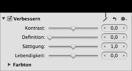 """Abbildung. Pinselsymbol im Abschnitt """"Verbessern"""" des Informationsfensters """"Anpassungen""""."""