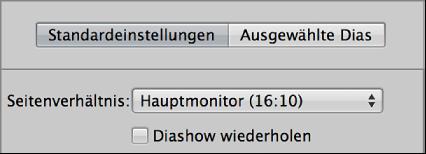 """Abbildung. Einblendmenü """"Seitenverhältnis"""" im Bereich """"Standardeinstellungen"""" des Diashow-Editors."""