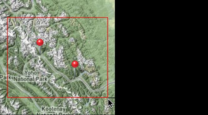 """Abbildung. Zoomfeld beim Bewegen mit gedrückter Befehlstaste in der Darstellung """"Orte""""."""