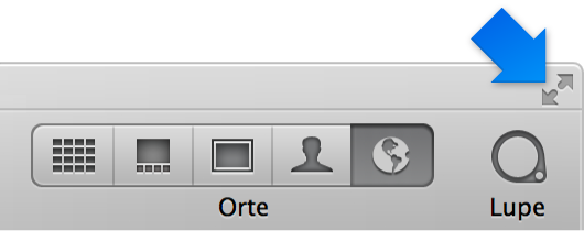Abbildung. Taste für die bildschirmfüllende Darstellung in der rechten oberen Ecke des Aperture-Fensters.