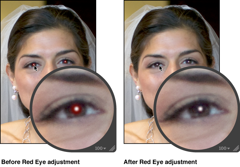 Figure. Image before and after a Red Eye adjustment.