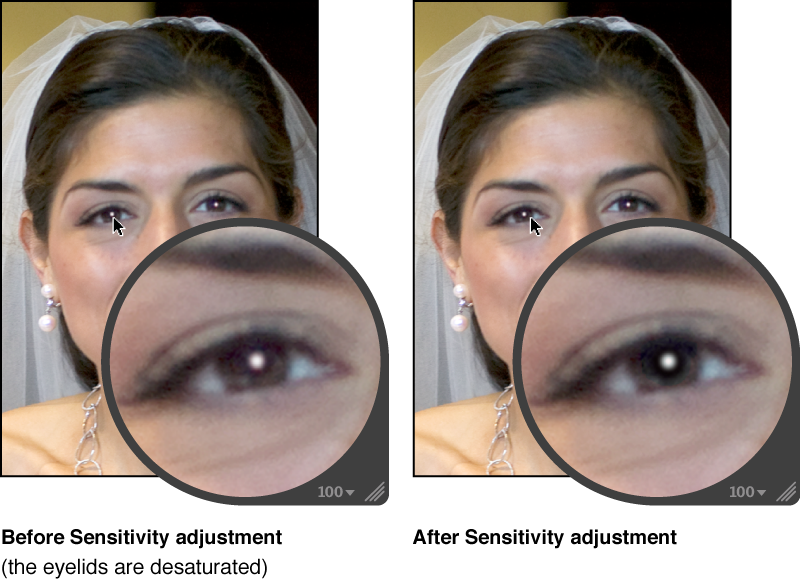 Figure. Image before and after a Sensitivity adjustment within a Red Eye target overlay.