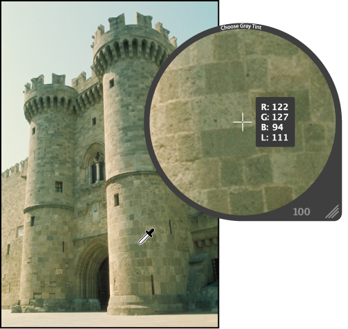 Figure. Loupe showing a magnified view of midrange color pixels in the image.