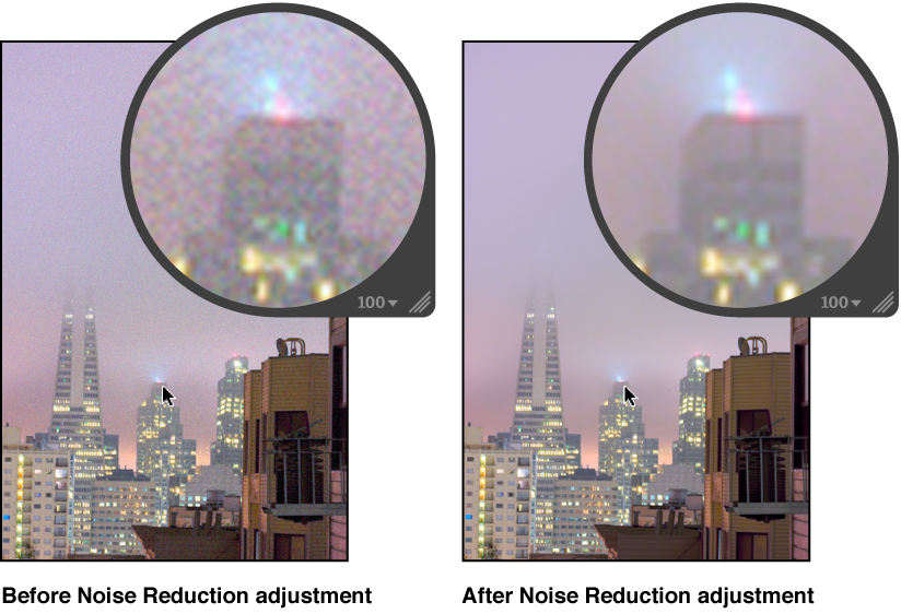 Figure. Image before and after a Noise Reduction adjustment.