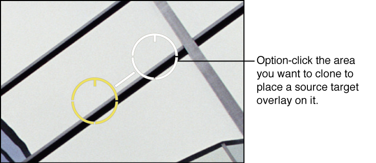 Figure. Image showing a white source target overlay placed over the portion of the image that the pixels are cloned from.