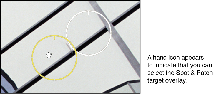 Figure. Image showing a hand icon appearing over the Spot & Patch target overlay to indicate that you can move it.