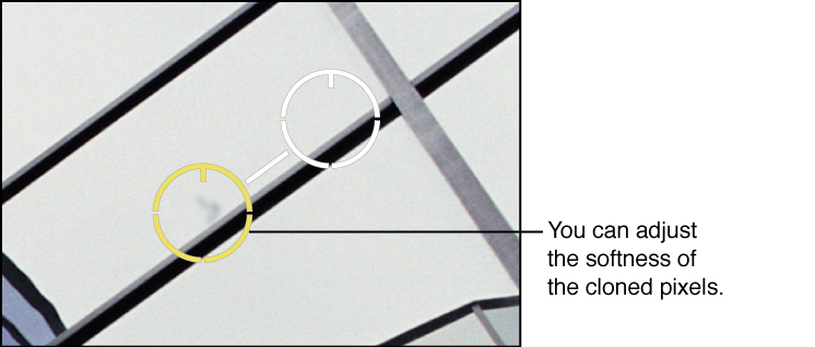 Figure. Image showing a Softness adjustment to pixels within the Spot & Patch target overlay.