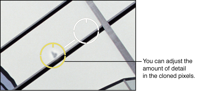 Figure. Image showing a Detail adjustment to pixels within a Spot & Patch target overlay.