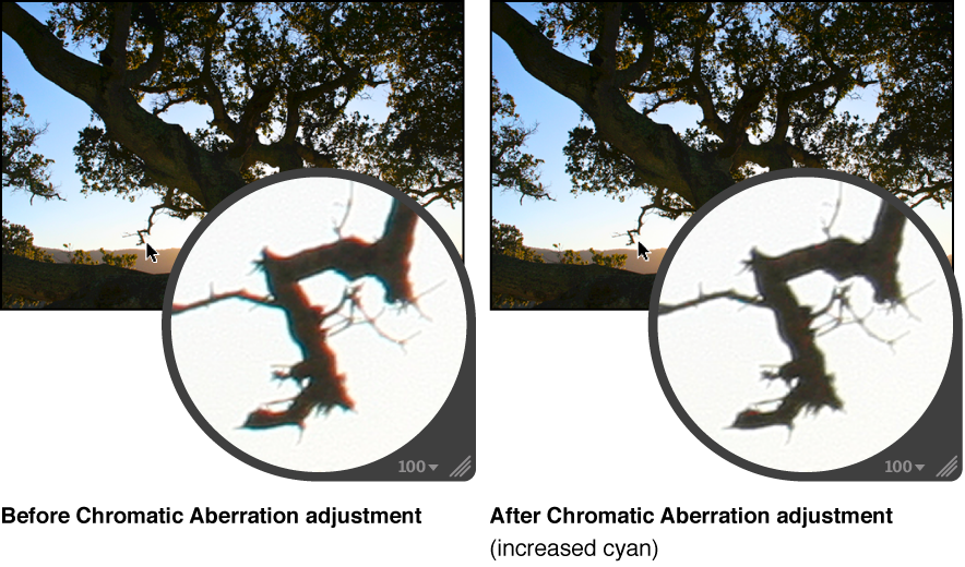 Figure. Image before and after a Chromatic Aberration adjustment.