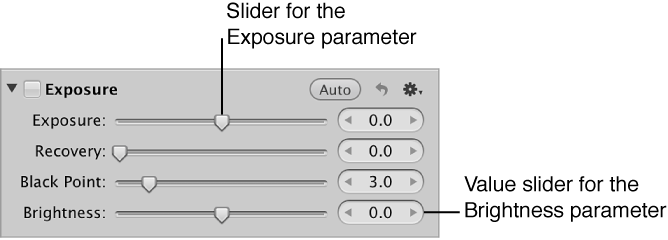 Figure. Sliders and value sliders for the Exposure adjustment.