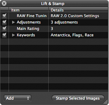 Figure. Lift & Stamp HUD showing the adjustments, IPTC metadata, and keywords applied to the image.
