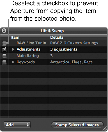 Figure. Lift & Stamp HUD showing all checkboxes except for Adjustments deselected.