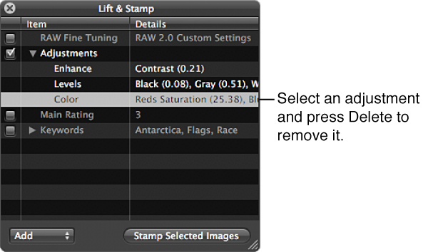 Figure. Lift & Stamp HUD showing an individual adjustment selected for deletion.