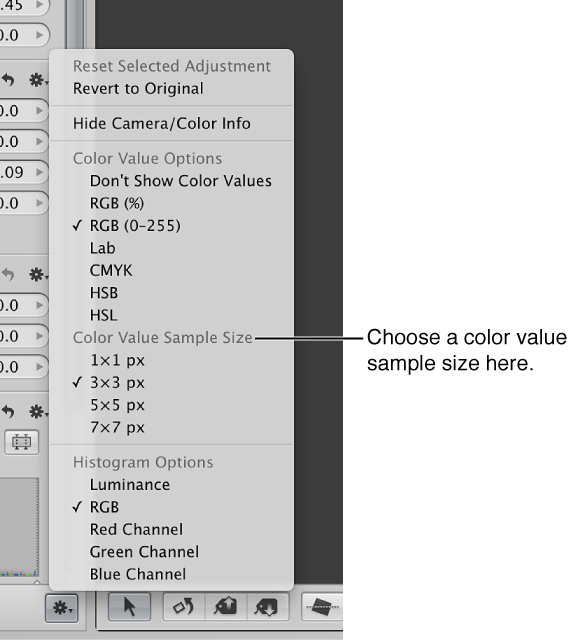 Figure. Adjustment Action pop-up menu showing color value sample size options.