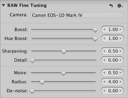 Figure. Controls in the RAW Fine Tuning area of the Adjustments inspector.