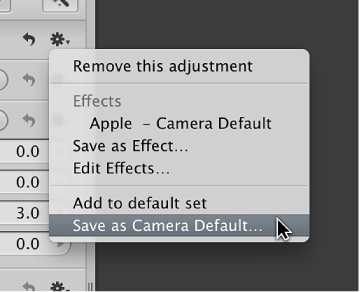 Figure. Action pop-up menu showing the Save as Camera Default command.