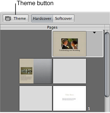 Figure. Theme button in the Book Layout Editor.