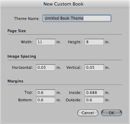 Figure. Controls in the New Custom Book dialog.