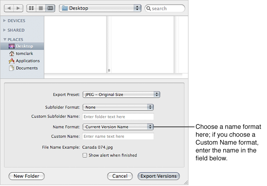 Figure. Name format options in the Export dialog.