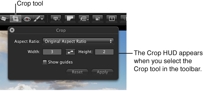 Figure. Crop tool in the Full Screen view toolbar and the Crop HUD that appears when you select the Crop tool.