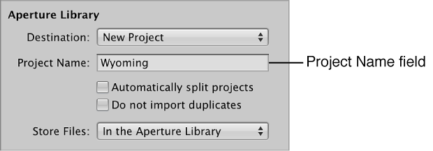 Figure. Destination pop-up menu in the Import browser.