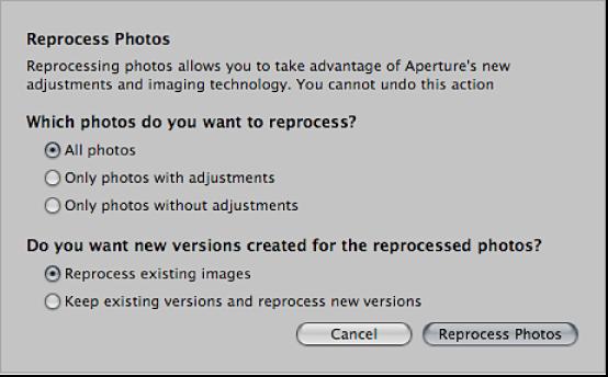 Figure. Reprocess Photos dialog.