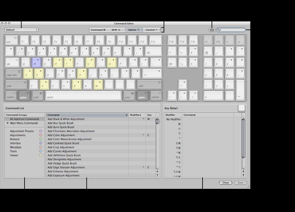 Figure. Controls in the Command Editor.