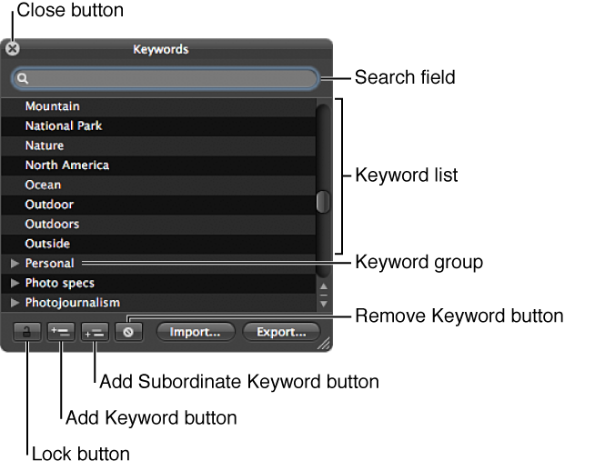Figure. Controls in the Keywords HUD.