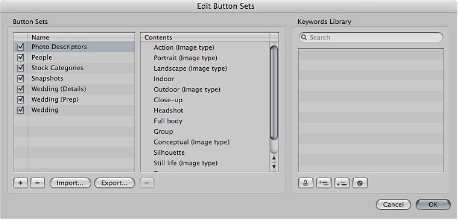 Figure. Edit Button Sets dialog.