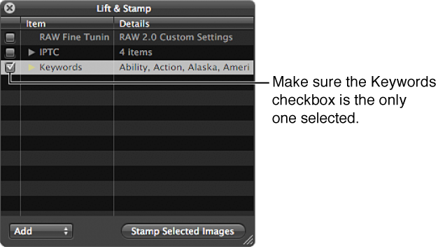 Figure. Lift & Stamp HUD showing the Keywords checkbox selected.