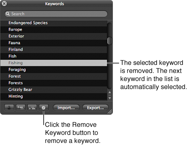 Figure. Keywords HUD showing the Remove Keyword button and the previously selected keyword removed from the list.