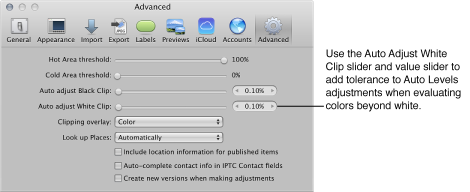 Figure. Auto Adjust White Clip controls in the Advanced pane of the Aperture Preferences window.