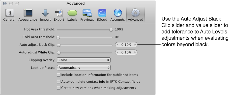 Figure. Auto Adjust Black Clip controls in the Advanced pane of the Aperture Preferences window.