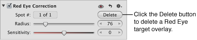 Figure. Delete button in the Red Eye Correction area of the Adjustments inspector.