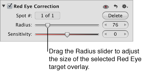 Figure. Controls in the Red Eye Correction area of the Adjustments inspector.