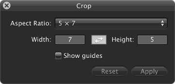 Figure. Controls in the Crop HUD.