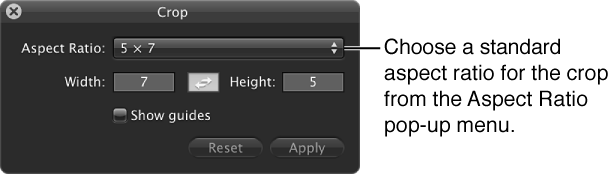 Figure. Aspect Ratio pop-up menu in the Crop HUD.