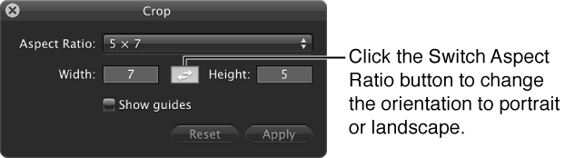 Figure. Switch Aspect Ratio button in the Crop HUD.