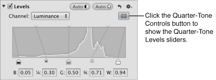 Figure. Quarter-Tone Levels controls in the Levels area of the Adjustments inspector.