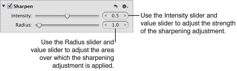Figure. Controls in the Sharpen area of the Adjustments inspector.
