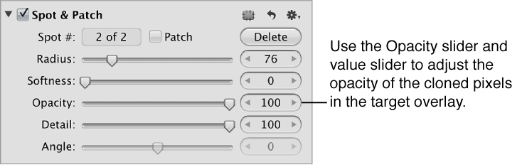 Figure. Opacity controls in the Spot & Patch area of the Adjustments inspector.