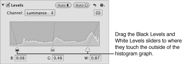 Figure. Black Levels and White Levels sliders placed at the edges of the luminance histogram graph in the Levels area of the Adjustments inspector.