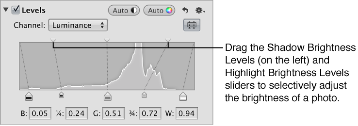 Figure. Shadow Brightness Levels and Highlight Brightness Levels sliders at the top of the histogram in the Levels area of the Adjustments inspector.
